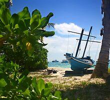 Blue Boat - A Maldives Beach by Matthew Doerr