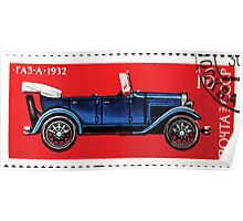 Automobiles of the Soviet Union stamp series 1973 GAZ A stamp USSR Poster