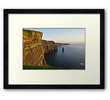cliffs of moher sunset landscape county clare ireland Framed Print