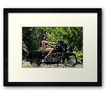 Blue Biker Babe Framed Print