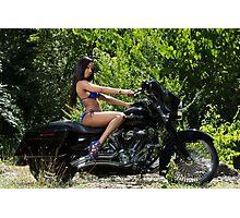 Blue Biker Babe Photographic Print
