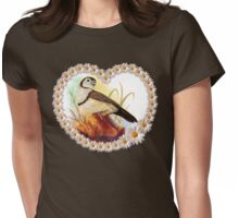 Owl finches realistic painting Womens Fitted T-Shirt