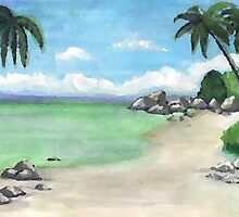 Hand Painted Water Color Beach by Kathryn8