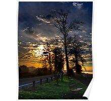 Sunrise Over River Road Poster