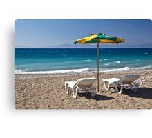 Beach in Rhodes, Greece Canvas Print