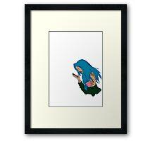BLUE HAIR GIRL DESIGN Framed Print