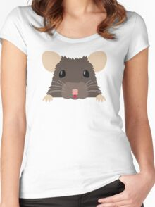 Cute peeking pet RAT Women's Fitted Scoop T-Shirt