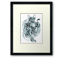 RISHAMA steampunk tattoo cat kitten biomechanics mechanics vintage Framed Print