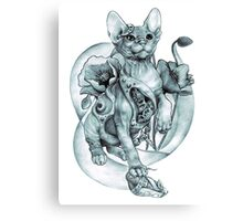 RISHAMA steampunk tattoo cat kitten biomechanics mechanics vintage Canvas Print