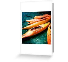 Beached kayaks Greeting Card