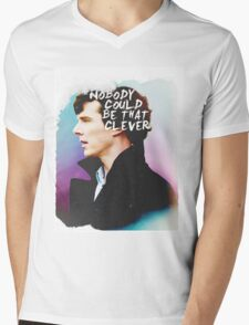 """Nobody Could Be That Clever"" BBC Sherlock  Mens V-Neck T-Shirt"