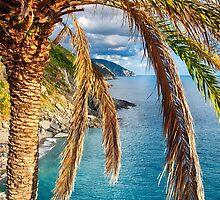 Palm Tree on the Coastal Hillside by George Oze