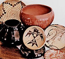 Native American Pottery and Basket by Winona Sharp