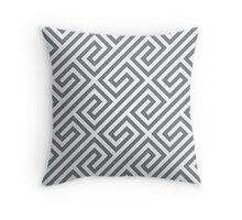 Cool Grey Greek Keys Geometric Pattern Throw Pillow