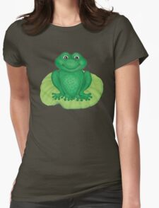 Frog on Lily Pad Womens Fitted T-Shirt