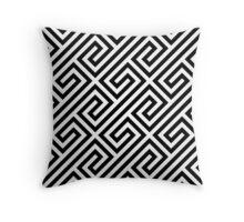 Black & White Greek Keys Geometric Pattern Throw Pillow
