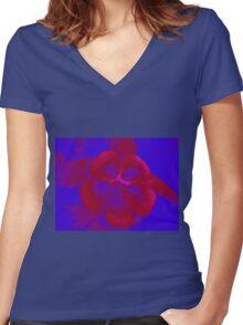 Red Blue Flower Women's Fitted V-Neck T-Shirt