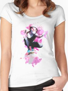 Spider-Gwen - Splatter Art Women's Fitted Scoop T-Shirt