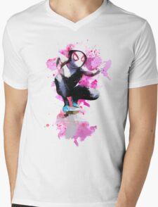 Spider-Gwen - Splatter Art Mens V-Neck T-Shirt