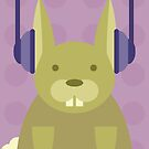 Rabbit with Headphones by Amy Huxtable