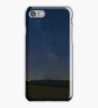 A lone Perseid meteor streaks across the sky iPhone Case/Skin
