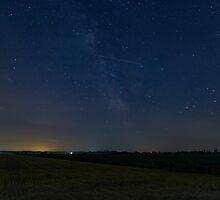 A lone Perseid meteor streaks across the sky by Josef Pittner