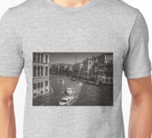 Looking North on the Grand Canal - B&W Unisex T-Shirt