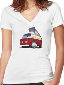 VW Bay (Early) Pop-Top Dark Red Women's Fitted V-Neck T-Shirt