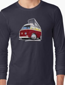 VW Bay (Early) Pop-Top Dark Red Long Sleeve T-Shirt