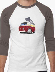 VW Bay (Early) Pop-Top Dark Red Men's Baseball ¾ T-Shirt