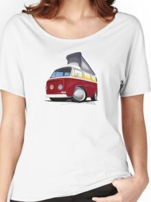 VW Bay (Early) Pop-Top Dark Red Women's Relaxed Fit T-Shirt
