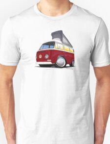 VW Bay (Early) Pop-Top Dark Red T-Shirt