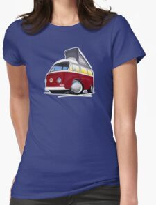VW Bay (Early) Pop-Top Dark Red Womens Fitted T-Shirt