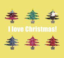 Christmas Trees I Love Christmas Fabric Collage Baby Tee