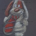 Floppy Dog wearing a Tie by Geraldine M Leahy