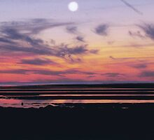 Sunset with Moon over Cape Cod Massachusetts by markrt