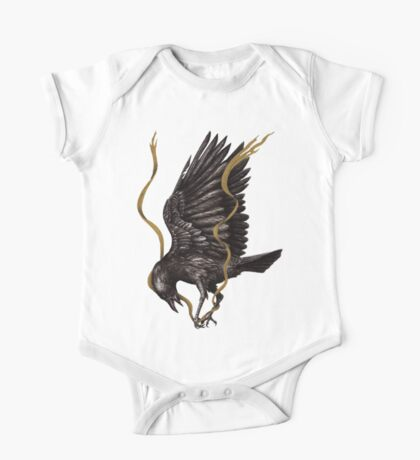 Breaking Point - Crow Falling with Gold Ribbon One Piece - Short Sleeve