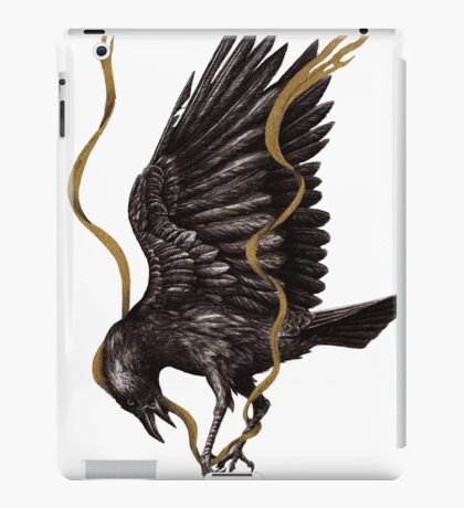 Breaking Point - Crow Falling with Gold Ribbon iPad Case/Skin