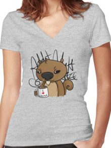 coffee addict Women's Fitted V-Neck T-Shirt