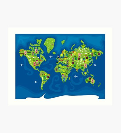 cartoon map of the world Art Print