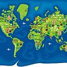 cartoon map of the world by Anastasiia Kucherenko