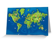 cartoon map of the world Greeting Card