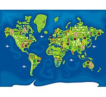 cartoon map of the world Photographic Print