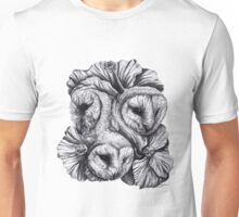 Compass - Barn Owls and Hibiscus Flowers Unisex T-Shirt