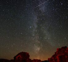 Perseid's and Milky Way at Loch Doon Castle by Roddy Atkinson