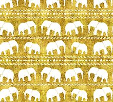 Elephant tribal gold white watercolor by dreamingmind