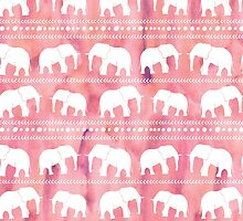 Elephant tribal pink water color by dreamingmind