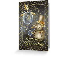 Christmas Card Glass Baubles And Snowman Greeting Card