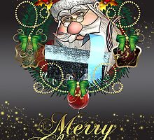 Merry Christmas With Santa In Holiday Wreath  by Moonlake