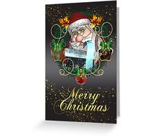 Merry Christmas With Santa In Holiday Wreath  Greeting Card
